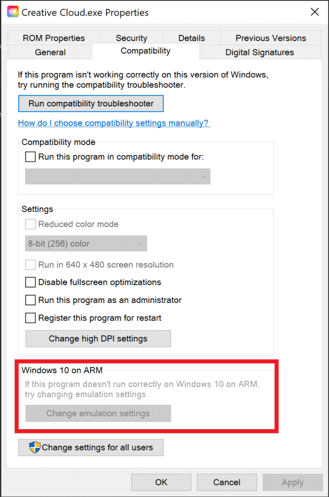 """Windows file properties dialog, tab """"Compatibility"""", section """"Windows 10 on ARM"""""""